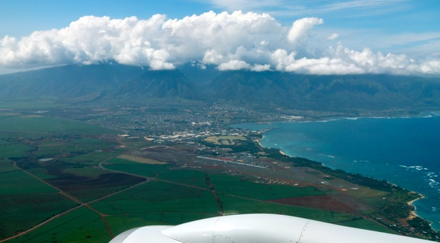 The island of Maui from the aircraft