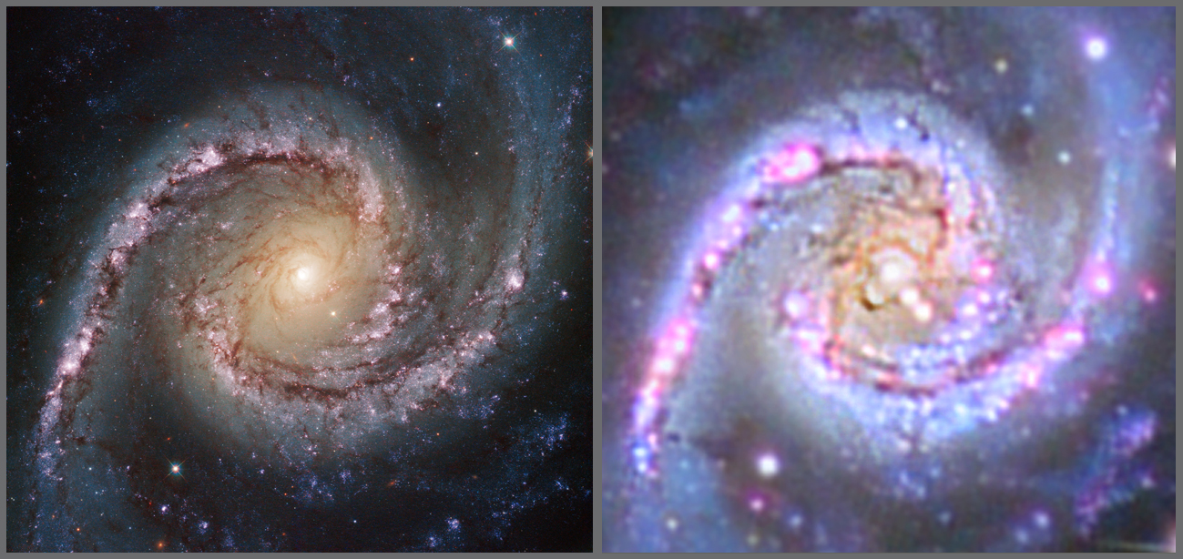 The Core of NGC 1566 Hubble Comparison
