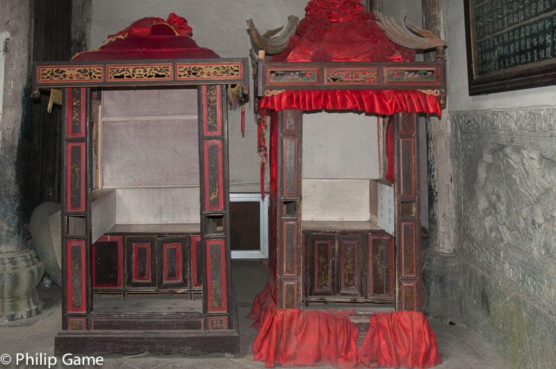 Sedan chairs housed in an ancestral hall, Xidi