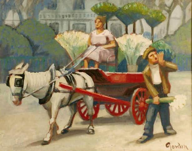 Blinkered horse and flower sellers, London.