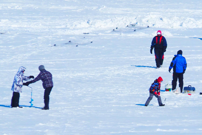 Ice fishing on Collingwood Harbour