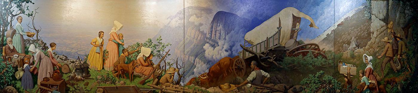 Mural of Voortrekkers crossing the Drakensberg mountains
