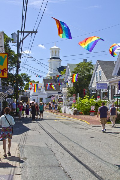 1.  Commercial Street decorated for a parade.