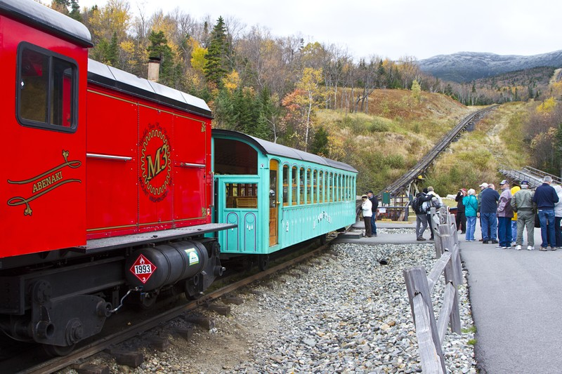 1.  Waitng to ride up on the cog railway.