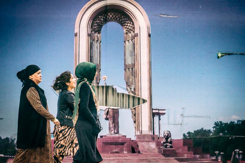 Vandalized photo - Dushanbe