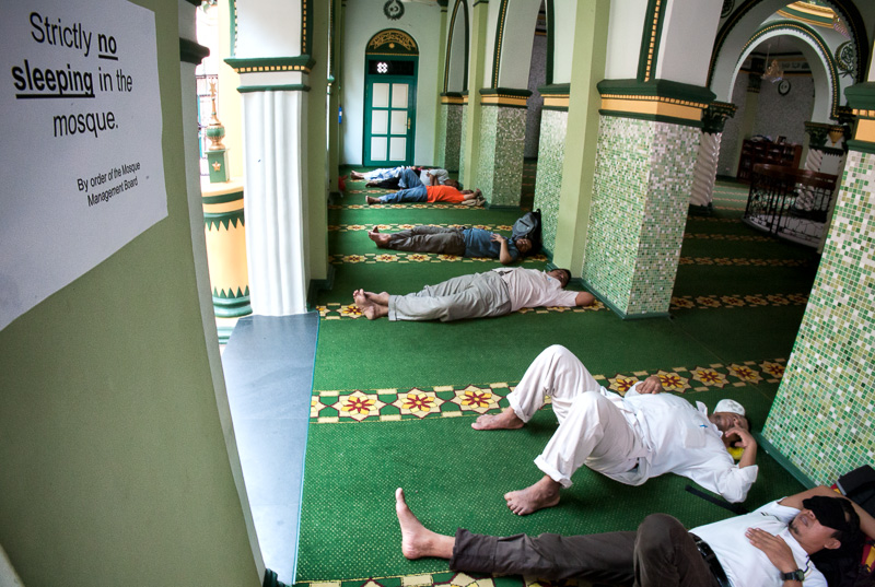 Strictly no sleeping in the mosque - Singapore