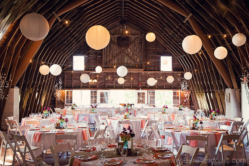 A wedding reception at the Blue Dress Barn