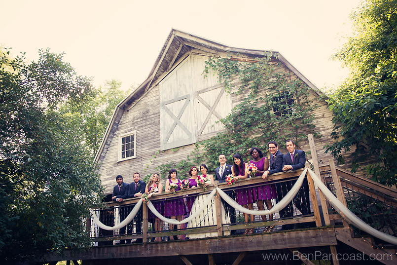 Blue Dress Barn wedding party on the deck