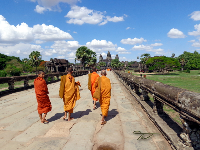 Buddhist Monks Angkor Wat Siem Reap Cambodia