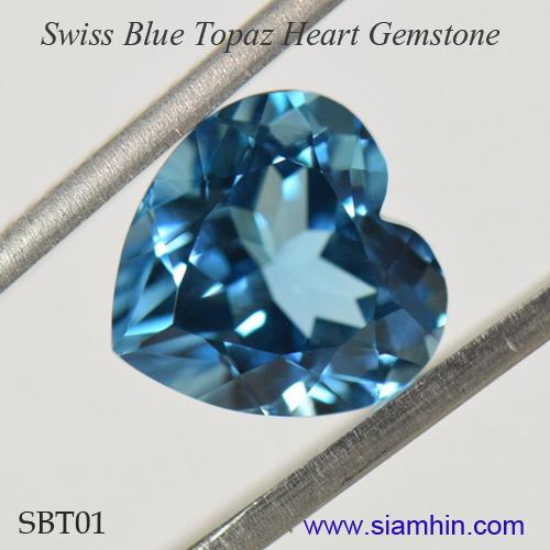Blue Topaz Heart Gem, A Big 12mm x 12mm Swiss Blue Topaz Gemstone From Siamhin
