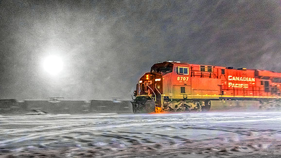 Canadian Pacific 8707 In Snowstorm 20150202