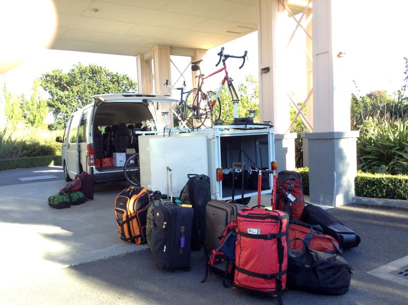 The bike and luggage trailer