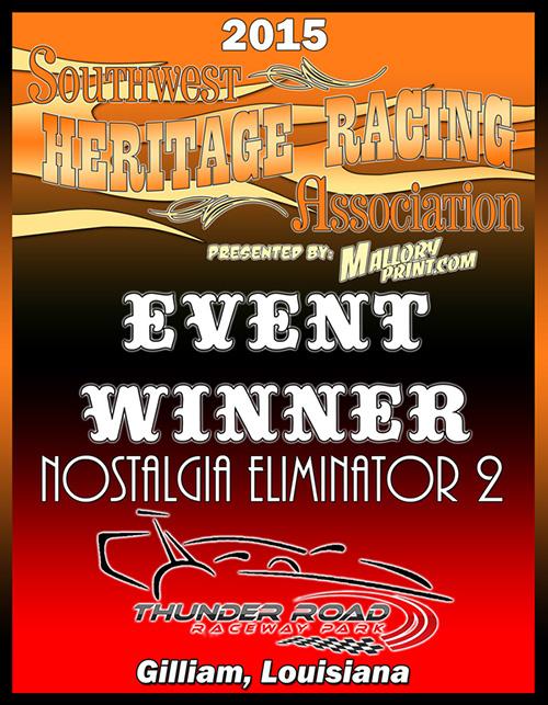 2015 SHRA Event Winner Plaque