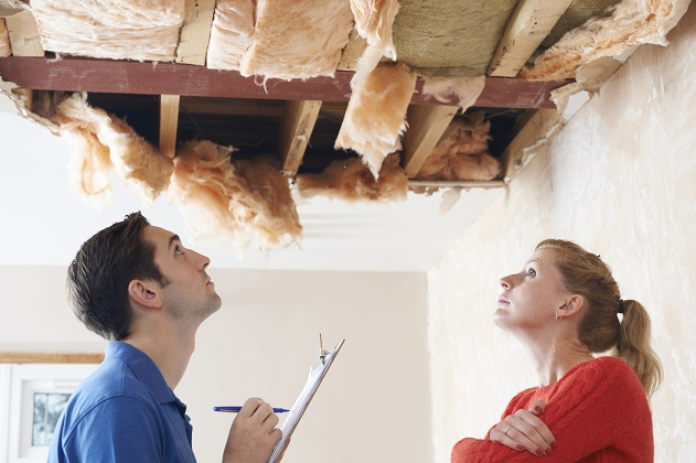 ceiling water damage repairs needed with remodeling contractor