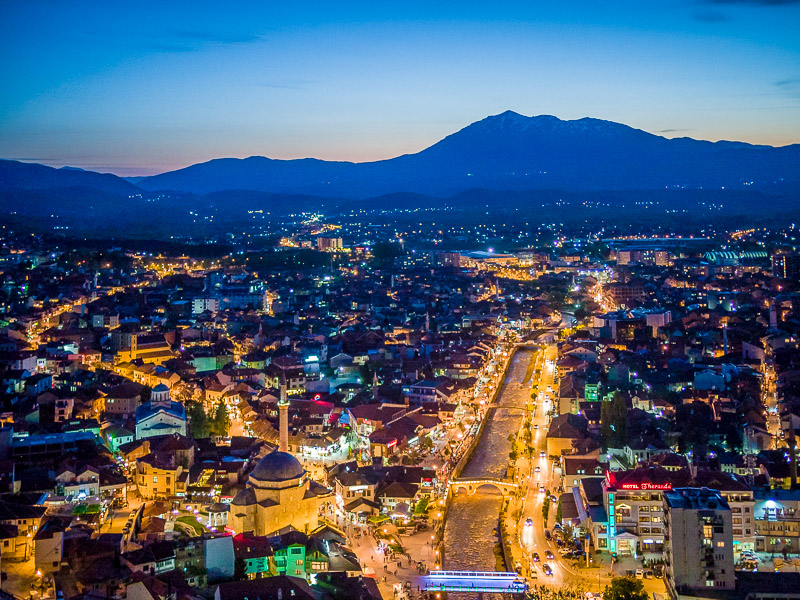 Prizren at night, from Kalaja