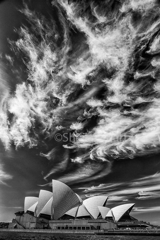 Sydney Opera House in monochrome