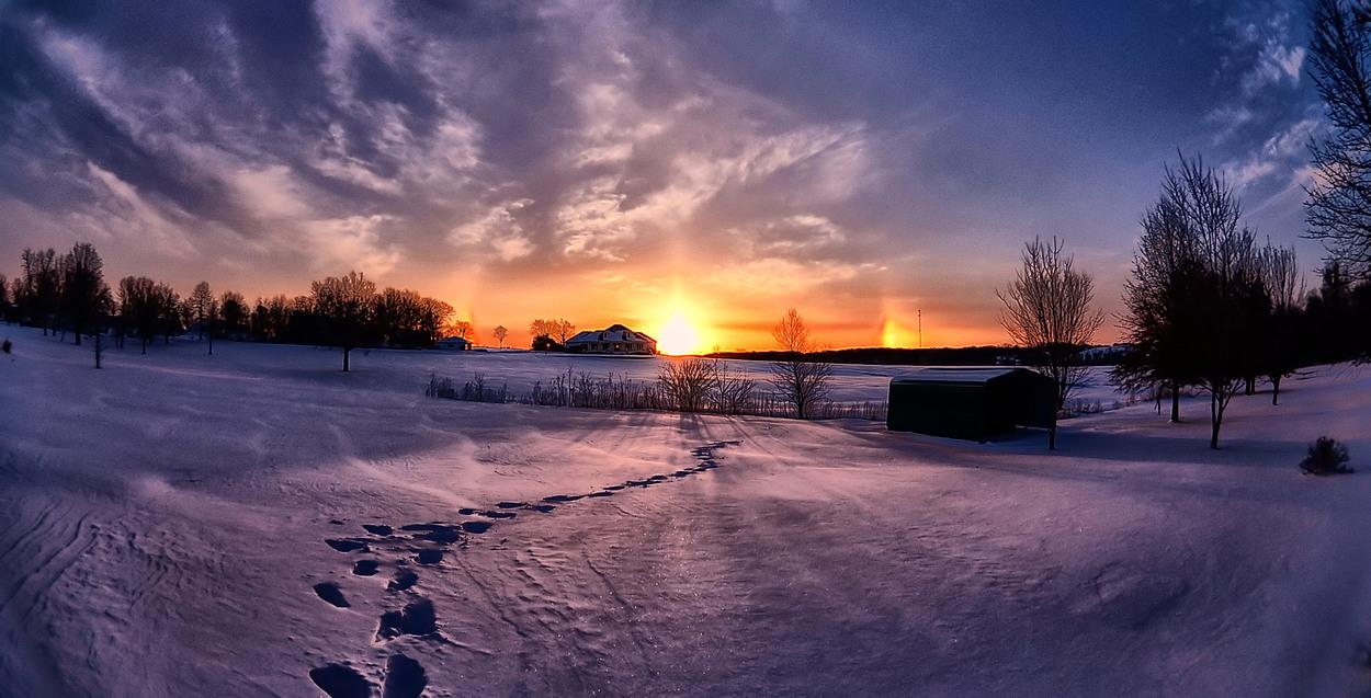 Winter Scene with Sundogs & Snow