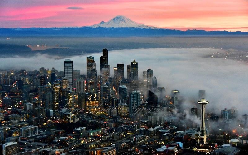 Red Sky over Mount Rainier, Foggy Downtown Seattle, Space Needle, Washington