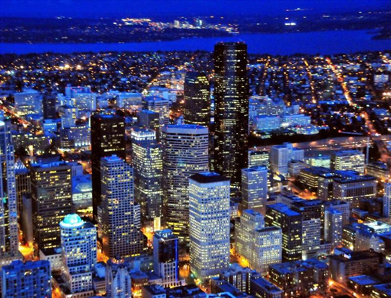 Blue skylines of Seattle
