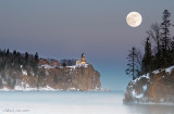 January 2009 Full Moon at Split Rock Lighthouse.  (Composite image)