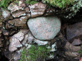 Stone set by a tree root