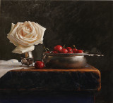 35. Cherries and a Rose 13 1/2 x 15