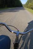 biking in the morning sun