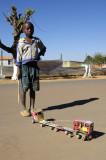 Boy with handmade toy