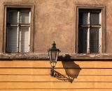 Lamp on golden wall