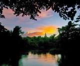 Orange Sunset on the River Khwae Yai