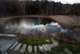 Pond with Ice & Clouds