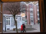 Chicken Market viewed throught the door window of Couven Museum
