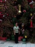 Frente a arbol de navidad