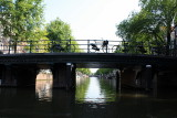 Cruising under a bridge on the canals
