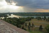 The Sava River meets the Danube River