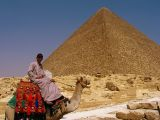 Posing for Baksheesh in front of the Great Pyramid