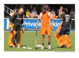 warming up for Dutch keepers Floortje Engels and Inge Vermeulen