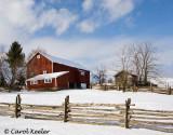 Barn with a Split Rail Fence