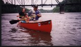 Canoeing by the Urbandale bridge (before it was upgraded)