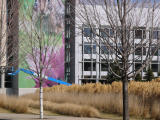 Giant mural and tall grass