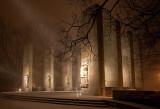 Virginia Tech War Memorial At Night  With Snow