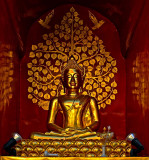 Buddha image with tree and angels