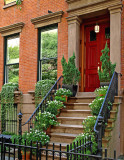 Stoop with flower pots