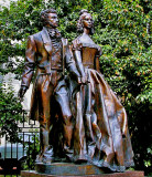 Statue of Pushkin and his wife
