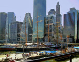 Sailing ships and skyline, South Street Seaport