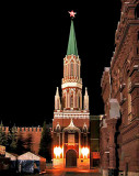 Gate to the Kremlin at night