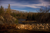 Night view from former town hall grounds in Charlton down the Englehart River