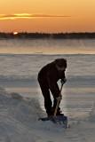 Mark Wesley shovelling snow at dawn December 16, 2008
