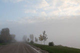 Revillon Road in fog with cloudy skies above 2012 September 29th