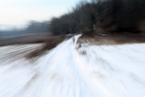 Randonnée dans la campagne enneigée près de Magny-en-Vexin